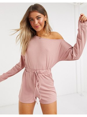 In The Style x jac jossa loungewear ribbed off shoulder tie detail romper in blush-pink