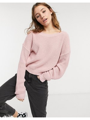 In The Style x jac jossa off -shoulder sweater in pink