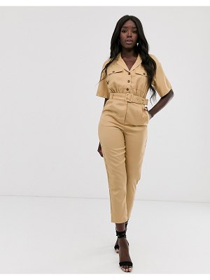 In The Style x laura jade tan tapered leg utility jumpsuit-brown