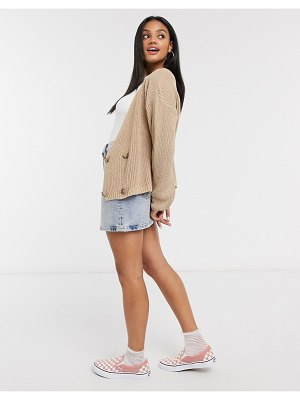 In The Style x lorna luxe copenhagen knitted double-breasted knitted cardigan in stone-beige