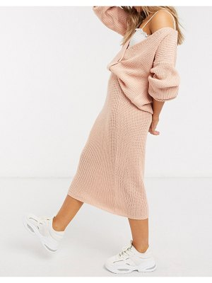 In The Style x lorna luxe copenhagen ribbed midi skirt in blush-pink