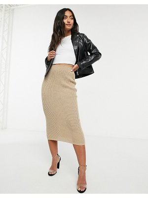 In The Style x lorna luxe copenhagen ribbed midi skirt in stone-beige