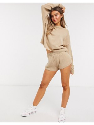 In The Style x lorna luxe lola knitted shorts two-piece in stone-beige