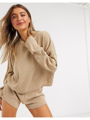 In The Style x lorna luxe lola knitted sweater two-piece in stone-beige