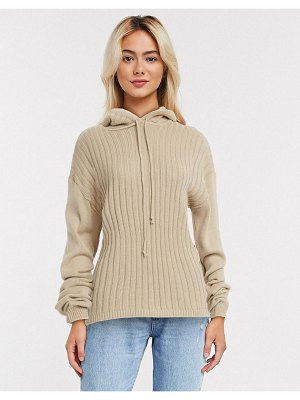 In The Style x lorna luxe lullaby ribbed hoody two-piece in stone-beige