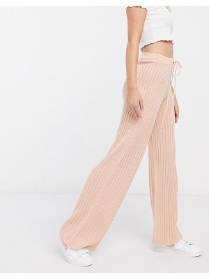 In The Style x lorna luxe lullaby ribbed wide leg pants two-piece in blush-pink