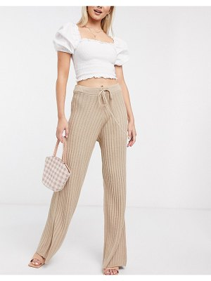 In The Style x lorna luxe lullaby ribbed wide leg pants two-piece in stone-beige