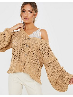 In The Style x lorna luxe oversized crochet cardigan in tan-stone