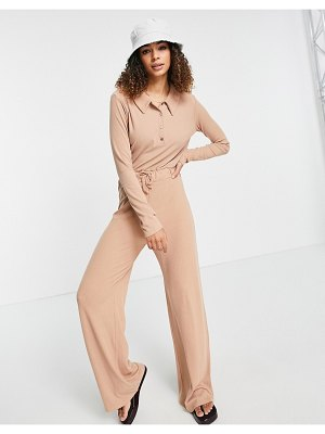 In The Style x olivia bowen ribbed jumpsuit with collar detail in beige-neutral