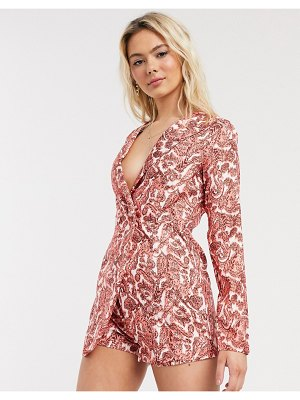 In The Style x saffron barker blazer style romper in coral-pink