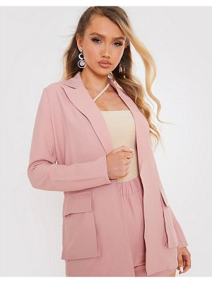 In The Style x saffron barker relaxed blazer in pink