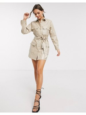 In The Style x stephsa pu utility button through dress in camel-beige