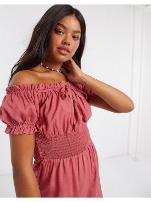 Influence off shoulder milkmaid romper in pink