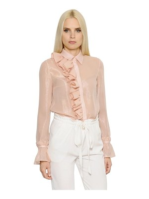 INGIE PARIS Ruffled lurex & silk georgette shirt