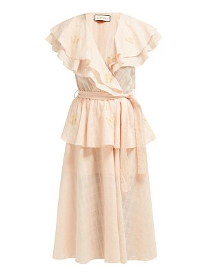 Innika Choo rose embroidered cotton voile midi dress