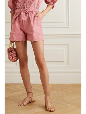 Innika Choo wilma butfiet belted broderie anglaise cotton shorts