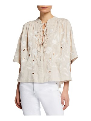 IRO Hiba Embroidered Lace-Up Top