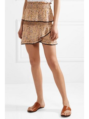 IRO jully ruffled printed silk crepe de chine mini skirt