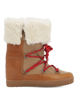 Isabel Marant 70mm nowly shearling & suede boots