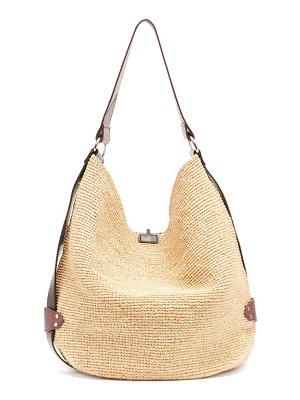 Isabel Marant bayia leather-trimmed woven-straw bag
