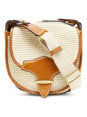 Isabel Marant botsy leather-trimmed raffia shoulder bag