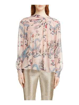 Isabel Marant debby twist neck dragon print silk blend blouse