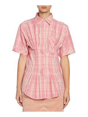 Isabel Marant emily gathered waist plaid blouse