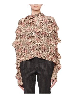 Isabel Marant Hess Long-Sleeve Ruffled Aztec-Print Silk Blouse