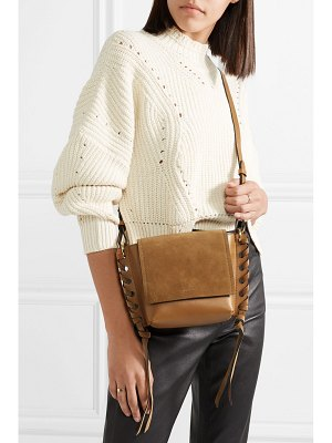 Isabel Marant kleny whipstitched leather and suede shoulder bag