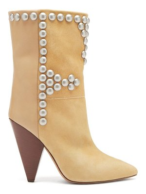 Isabel Marant layo studded cone-heel suede and leather boots