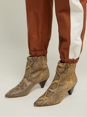 Isabel Marant Leffie Snake Effect Leather Ankle Boots
