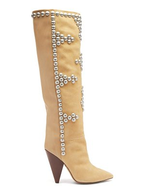 Isabel Marant lyork studded suede and leather knee-high boots