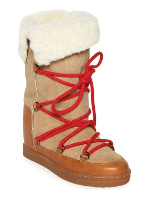 Isabel Marant Nowly Lace-Up Leather & Shearling Boots