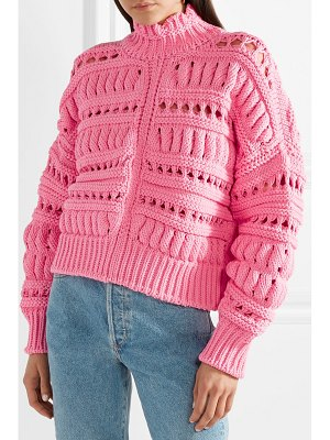 Isabel Marant zoe oversized open-knit cotton-blend turtleneck sweater