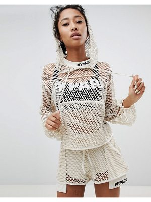 IVY PARK Mesh Lace Up Cropped Hoodie