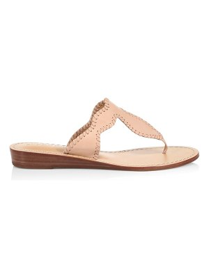 Jack Rogers jackie whipstitch leather wedge thong sandals