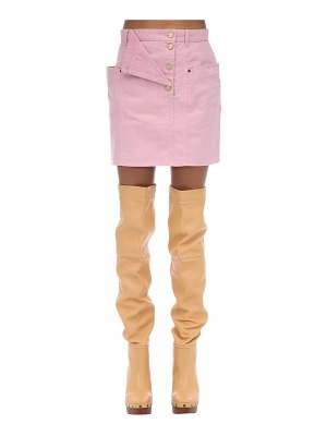 JACQUEMUS High waist cotton denim mini skirt