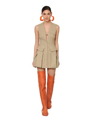 JACQUEMUS Raw silk canvas mini dress