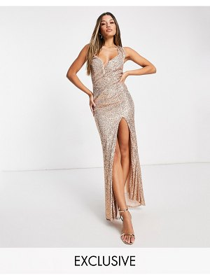Jaded Rose exclusive sequin maxi dress with cowl back in gold