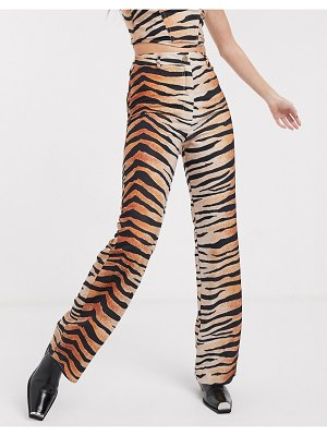 Jagger and Stone jagger & stone straight leg pants in tiger print two-piece-brown