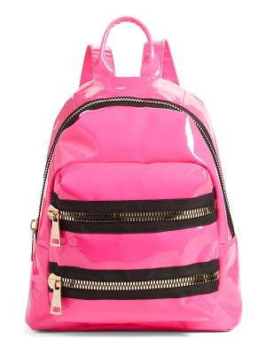 Jane & Berry double zip faux patent leather backpack