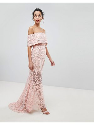 Jarlo all layered bardot all over embroidered lace maxi dress