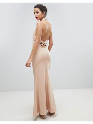 JARLO High Neck Ruched Open Back Maxi Dress