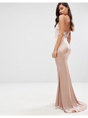 JARLO High Neck Satin Maxi Dress With Lace Up Back
