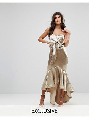 Jarlo Wrap Front Bardot Midi Dress With Fluted High Low Hem