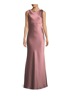 JAY X JAYGODFREY Price Cowl-Back Sleeveless Satin Trumpet Gown