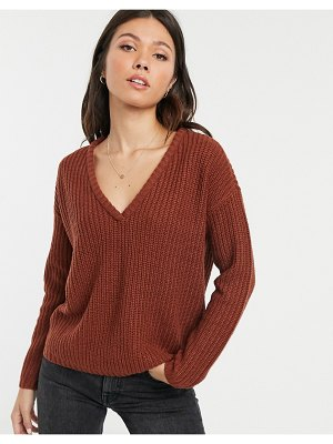 JDY knitted v-neck sweater-brown