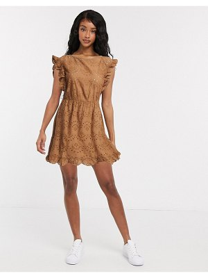 JDY mini broderie dress with ruffle trims in brown