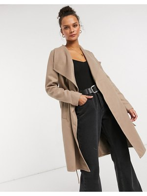 JDY oversized wrap coat in tan