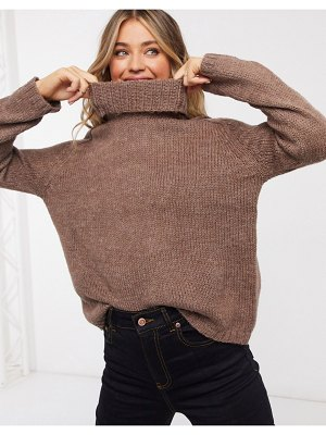 JDY roll neck sweater with chunky knit brown